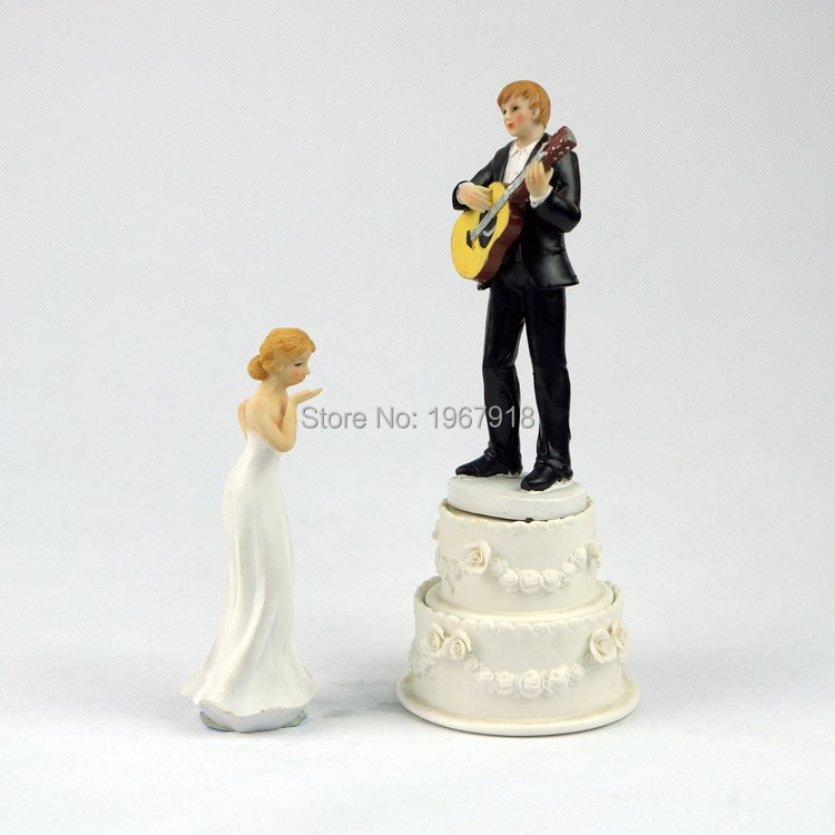 98214e799764 Music Guitar Wedding Bride   Groom Resin Cake Topper Wedding Couple Cake  Stand Topper Bridal Shower Cake Figurine Free Shipping