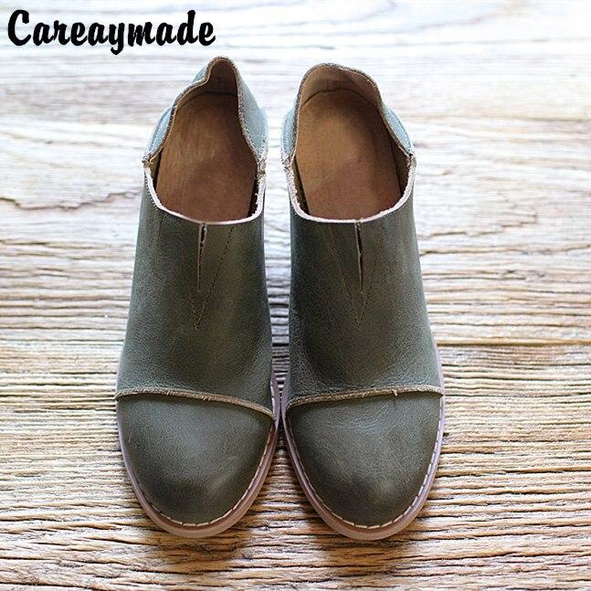 Ayakk.'ten Kadın Pompaları'de Careaymade 2018 Avrupa Amerikan stilleri Kafa katmanı inek derisi kadın basit deri ayakkabı, retro moda ayakkabılar bayan ayakkabıları, 3 renk'da  Grup 1