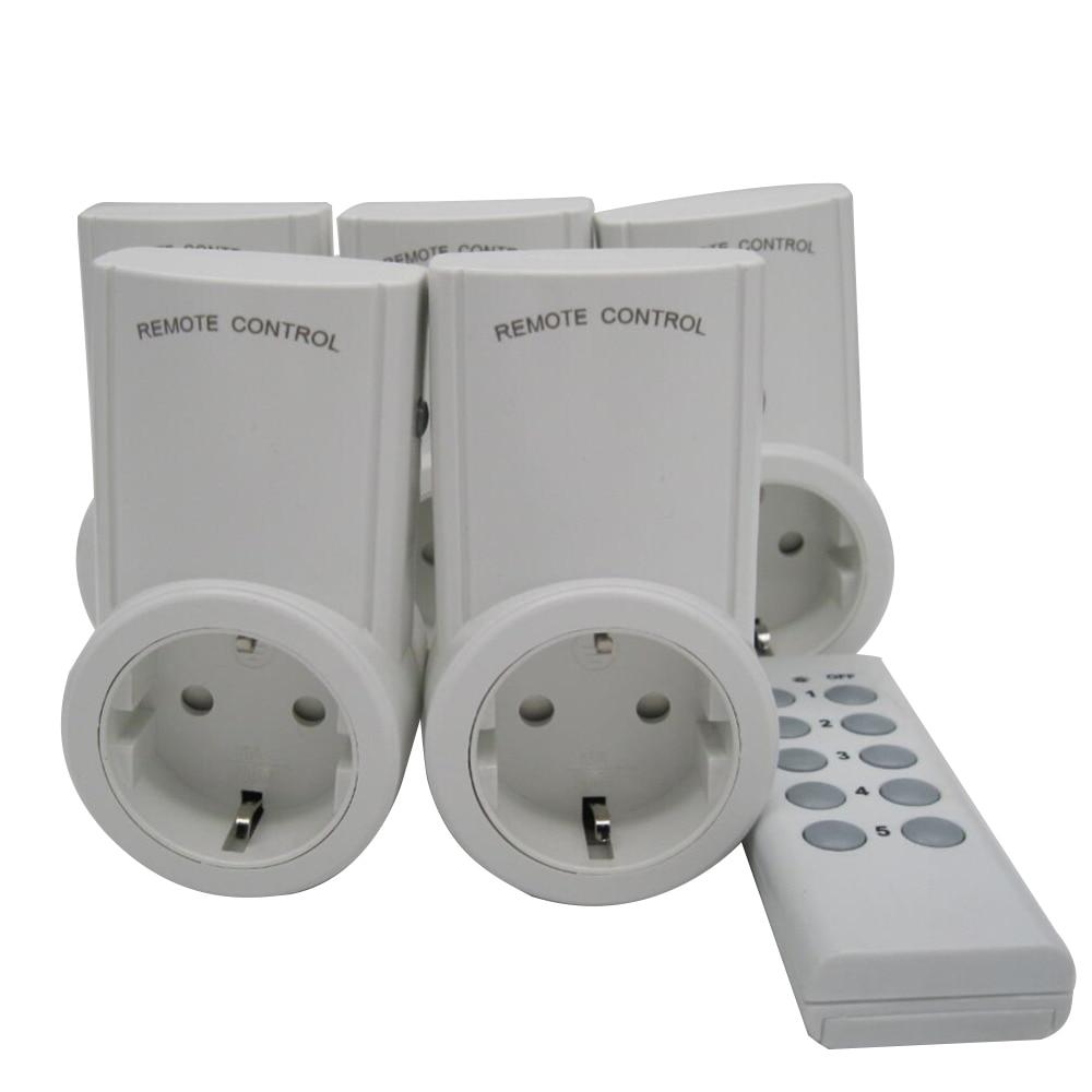 high quality eu 5 pack wireless remote control power. Black Bedroom Furniture Sets. Home Design Ideas