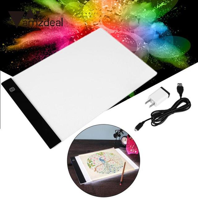 AMZDEAL 4 Plug For A4 LED Light Stencil Art Copy Painting Drawing Pad Tattoo Pad Adapter USB Cable Dimable  EU/UK/AU/US Plug