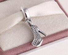 2015 tacones altos cuelga suspensión perlas zapatos de tacón alto 925 de la plata esterlina para estilo Pandora pulsera
