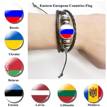 Flag Leather Bracelet Russia Ukraine Estonia Latvia Belarus Lithuania Moldova EasternEuropean Jewelry Gift for Men