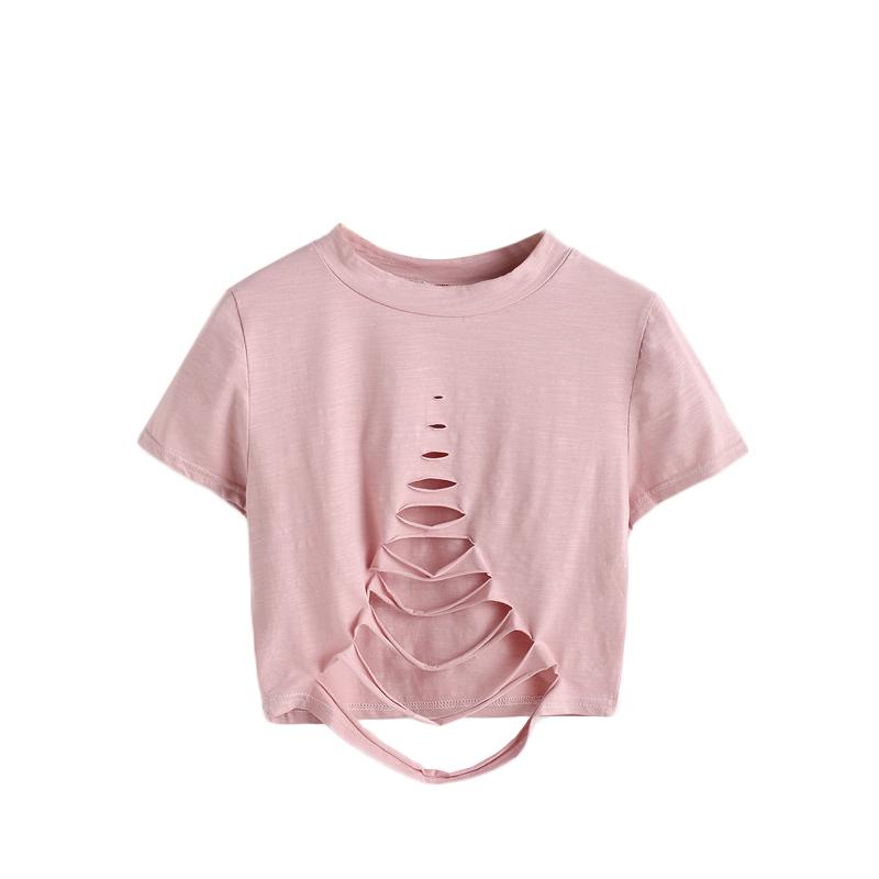 HTB1oaQlQVXXXXbUXVXXq6xXFXXX4 - Pink Ladder Ripped Short Sleeve Round Neck Crop Tee PTC 334
