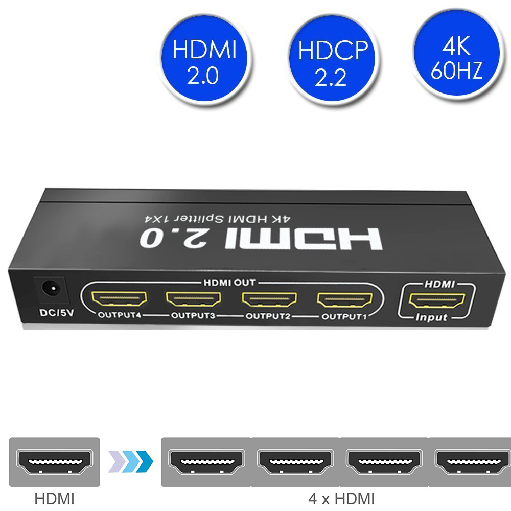 Aikexin 4K HDMI2.0 Splitter 1 in 4 Out 4K/60Hz HDCP2.2,HDMI Splitter 4 port 1X4 Splitter Support HDMI2.0,EDID Function,Ultra HD 1 x 4 hdmi splitter hdmi 1 4 with 3d 4k support