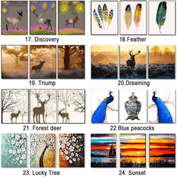 3 pcs DIY Oil Painting by Numbers Flower Triptych Pictures Animal Coloring Landscape Abstract Paint Wall Sticker Home Decor Gift