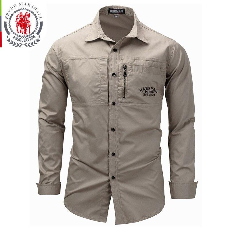 FREDD MARSHALL Men's Shirts 2019 Casual Slim Fit 100% Cotton Long Sleeves Men zip Shirt   3