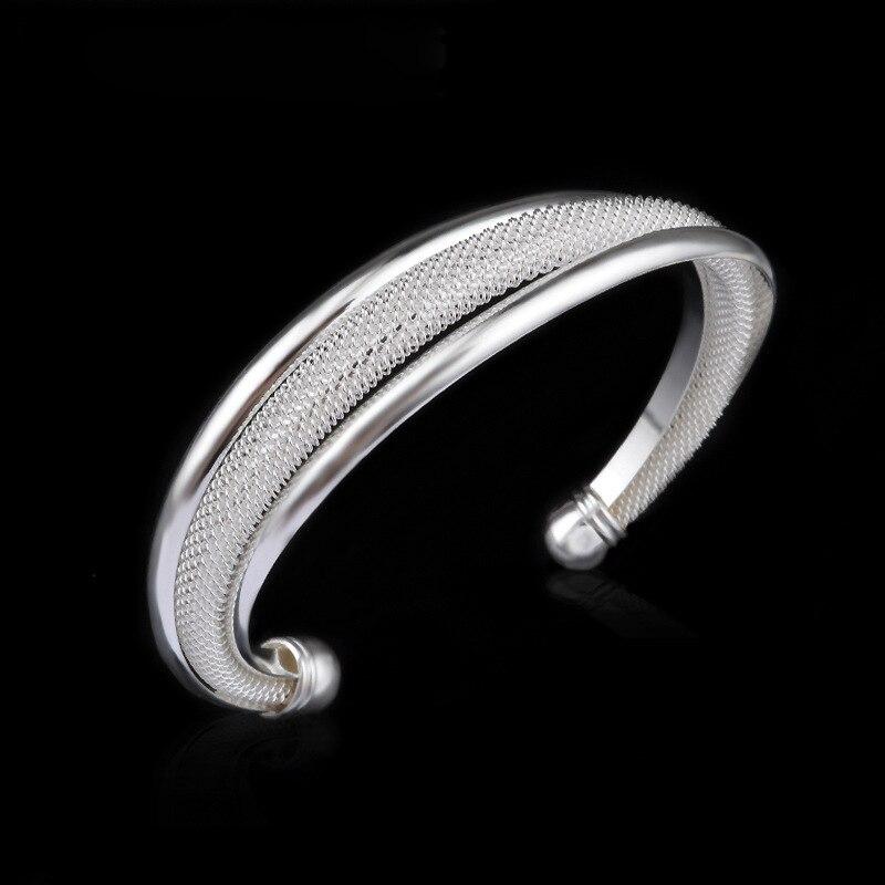 2018 Hot Sale 925 Silver Bangles Fashion Two-wire bracelet Simple Bangles For Women Men