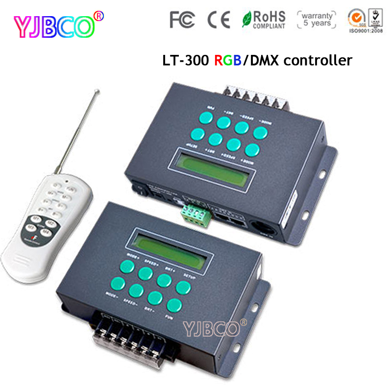 DC12V-24V LT-300 LED RGB DMX512 Controller Colourful Funtion Programmable with small LCD screen For led module light dmx512 digital display 24ch dmx address controller dc5v 24v each ch max 3a 8 groups rgb controller