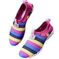 Дышащая Женская обувь Размер от 35 до 40 Летом Сетки Цвета Радуги обувь KJ171