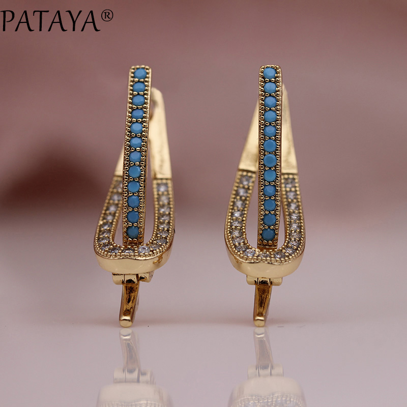 PATAYA New Unique Long Earring 585 Rose Gold Blue Gold Star Stone Dangle Earrings Women Wedding Party Hollow Jewelry Girl Gift