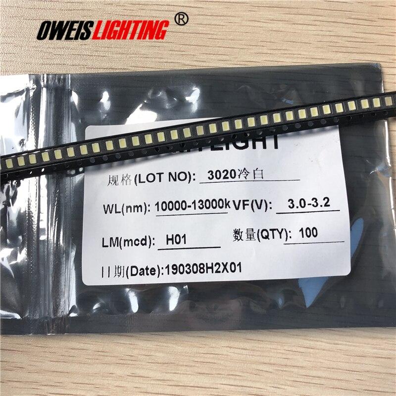 100PCS 3020 WHITE LED 6-7LM  TRUE WHITE 6000-7000K / COOL 10000-13000K 2.8-3.0V 20mA 3.0*2.0*1.2mm SMD Light Beads