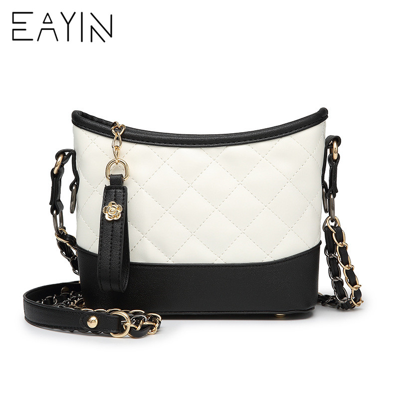 Delle White Messaggero Borsa A white Lembo Con Eayin Di Nappa Tracolla Shopping Catena Trendy Black Sacchetto Cuoio Donne Del black Reticolo Marca Piccolo Diamante Signore And nYSqzgn