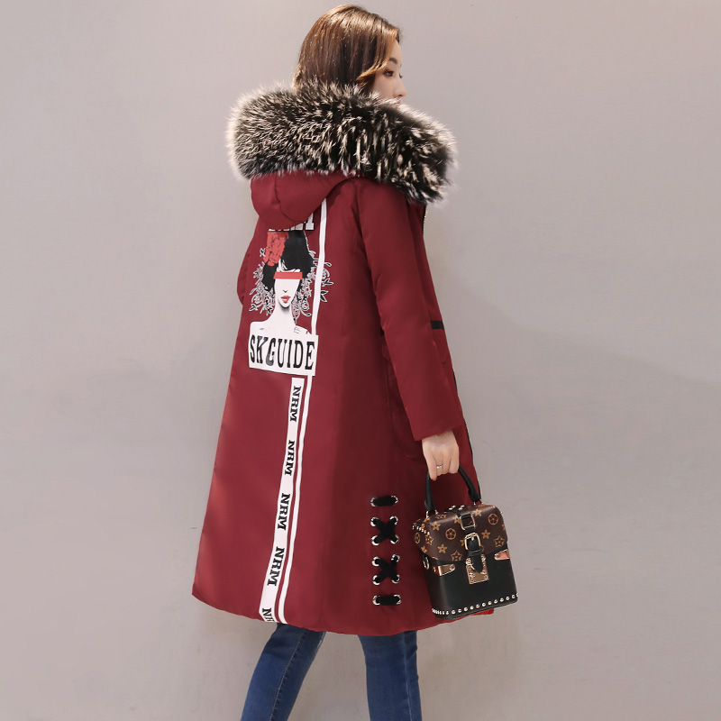 2017 New Winter Jacket Long Thick Fur Fashion Two Korean Large Coat Tide Character Full Thick Slim Casual Women Winter Coats