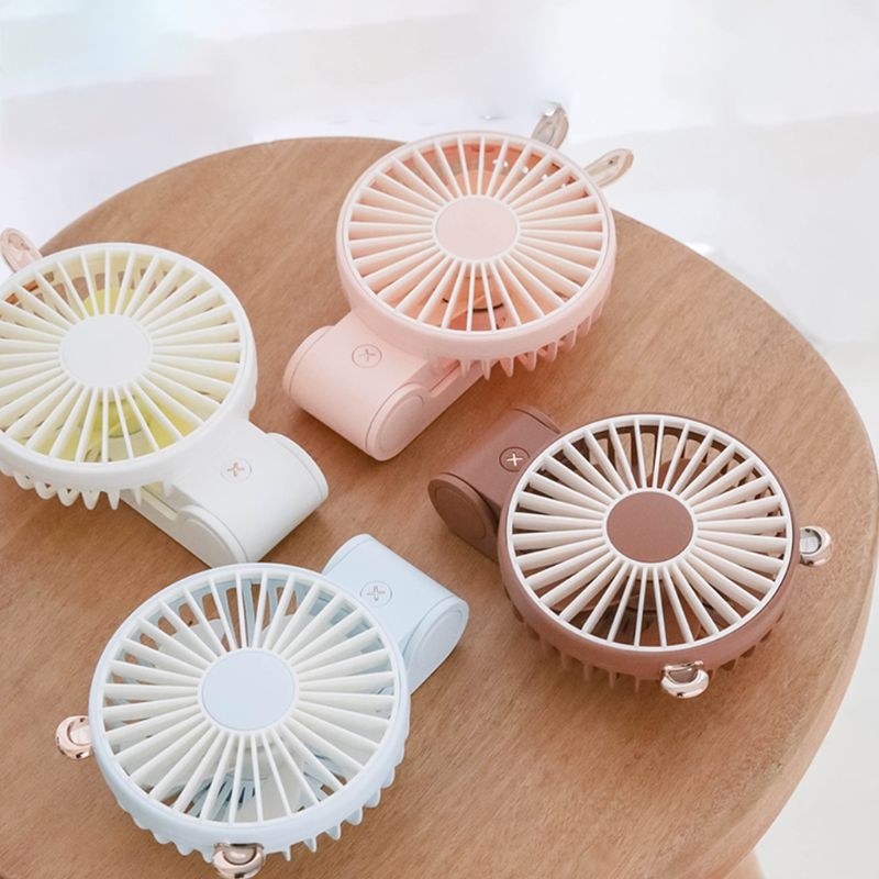 270 Degree Adjustable Cute Rabbit Bear Mini USB Foldable Handheld Fan Easy to Carry Small Fan with Hanging Rope Summer Cooling|Fans| |  - title=
