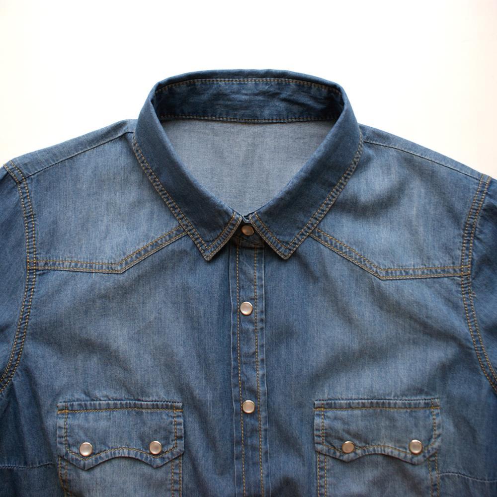 Kvinnors Denim tröja Jeans Skjortor för kvinnor Kärlek Långärmad - Damkläder - Foto 3