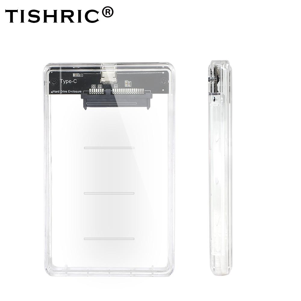 TISHRIC TYPE-C Transparent 2.5 HDD/SSD Case Hard Drive Enclosure/Box Sata To USB Adapter UASP Protocol 2TB Hard Disk Case