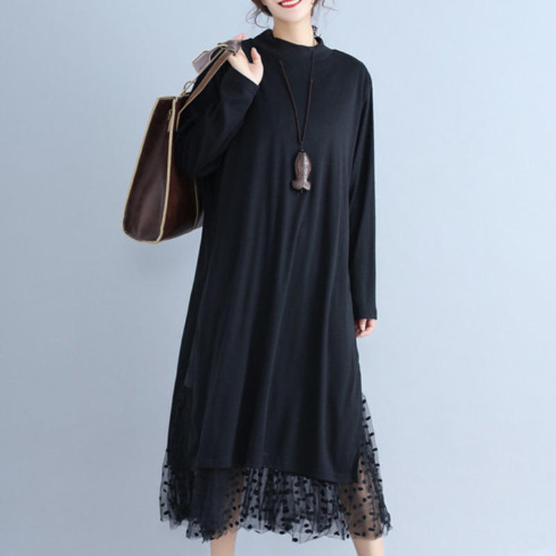 LANMREM Solid Color Stitching Lace Round Neck Long Sleeve Dress Casual Fashion Loose Plus Women 2020 Spring Winter New TC933