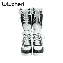 Harley Quinn Shoes Suicide Squad Clown Cosplay Boots Party Halloween Women Shoe 2016 New batman suicide squad harley quinn movie cosplay costumes shoes boots high heels custom made for adult women halloween party