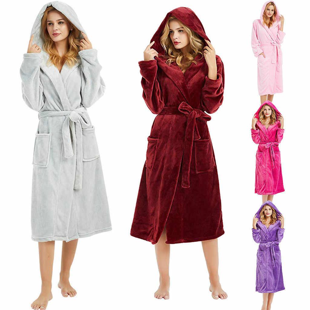 474f6f5ffc69d Зимние милые теплые халаты Для женщин до колена Длина банный халат  Туалетная плюс Размеры Халаты женские