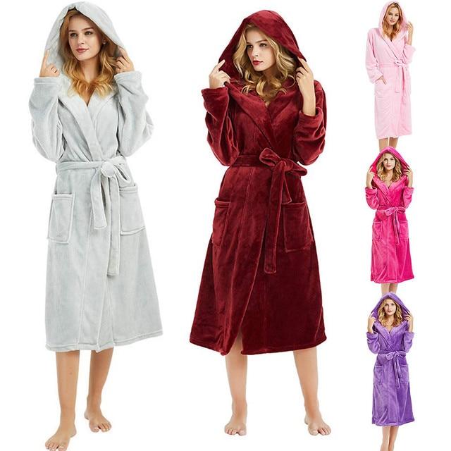 2754f4cf8245 Winter Cute Warm Bathrobes Women Knee-Length Bath Robe Dressing Plus Size  Robes Female Women s Winter HoodedLengthened Bathrobe