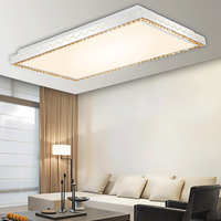 Exquisite Carving Led Ceiling Lamp Modern Luxury K9 Crystal Decorate Rectangular And Circular Stepless Dimming Light
