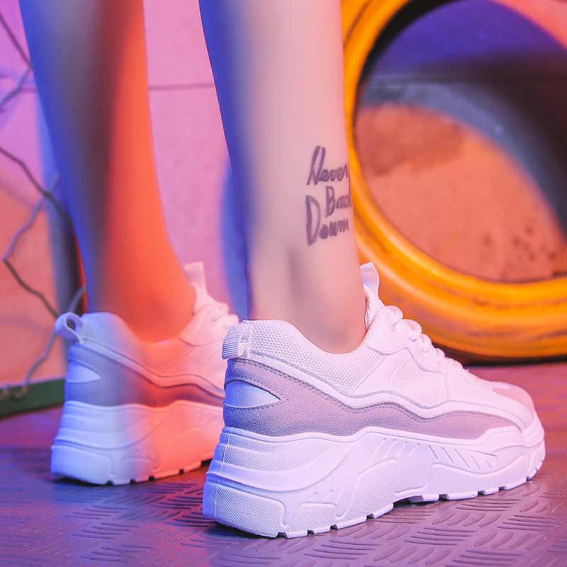 女性の靴 2019 新チャンキースニーカー女性のための加硫靴カジュアルファッションお父さんの靴プラットフォームスニーカーバスケットファム Krasovki