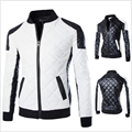 New Fashion PU Leather Jacket Men Black White Solid Mens Faux Fur Coats Trend Slim Fit Youth Motorcycle Suede Jacket Male