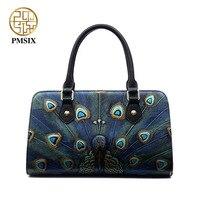 Pmsix Women Embossed Peacock Genuine Leather Shoulder Bag Brand Women Designer Handbags Women Cow Leather Bag