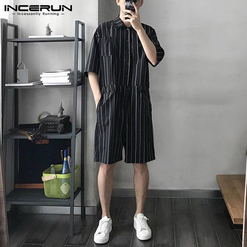 Incerun macacão masculino de manga curta, moda