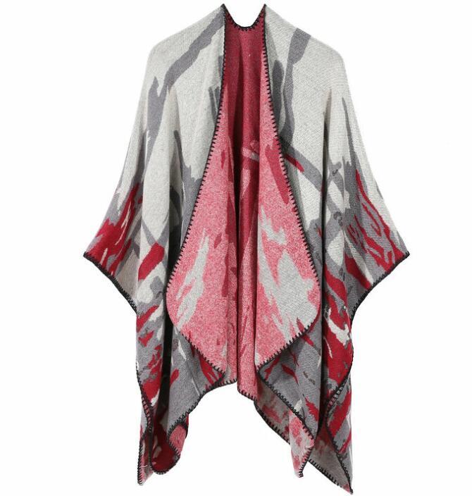 2018 Frauen Winter Camouflage Muster Stricken Ponchos Frauen Lose Capes Imitiert Kaschmir GroßEr Ausverkauf