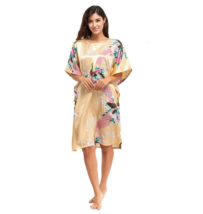 Gold Sexy Lady Silk Rayon Robe Dress Chinese Women Loose Nightgown  Sleepshirt Kimono Bathrobe Gown Flower One Size NR110-in Robes from Women s  Clothing   ... 0e847df3b