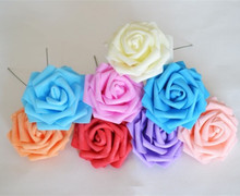 8cm PE rose foam mini flower head 10 colors cartoon DIY material for wedding home artificial 9pcs/lot