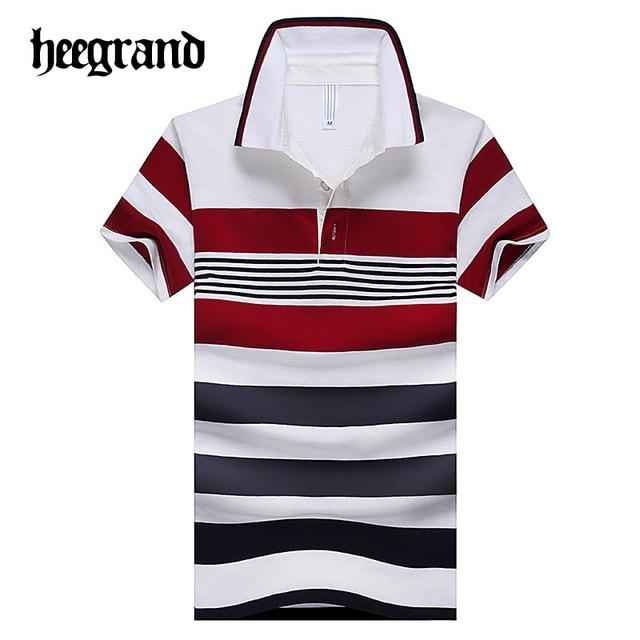 Hee grand 2017 hombre verano de rayas patchwork camisa de polo ocasional de los hombres camisas de manga corta de algodón blend mtp407