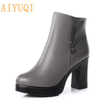 AIYUQI 2019 New Women Genuine Leather Boots Australia Fashion Thick Wool Warm Female Snow Boots High-heeled Martin Boots Women 100% genuine leather high heeled women boots coupled with large size wool lined female martin boots designer motorcycle boots