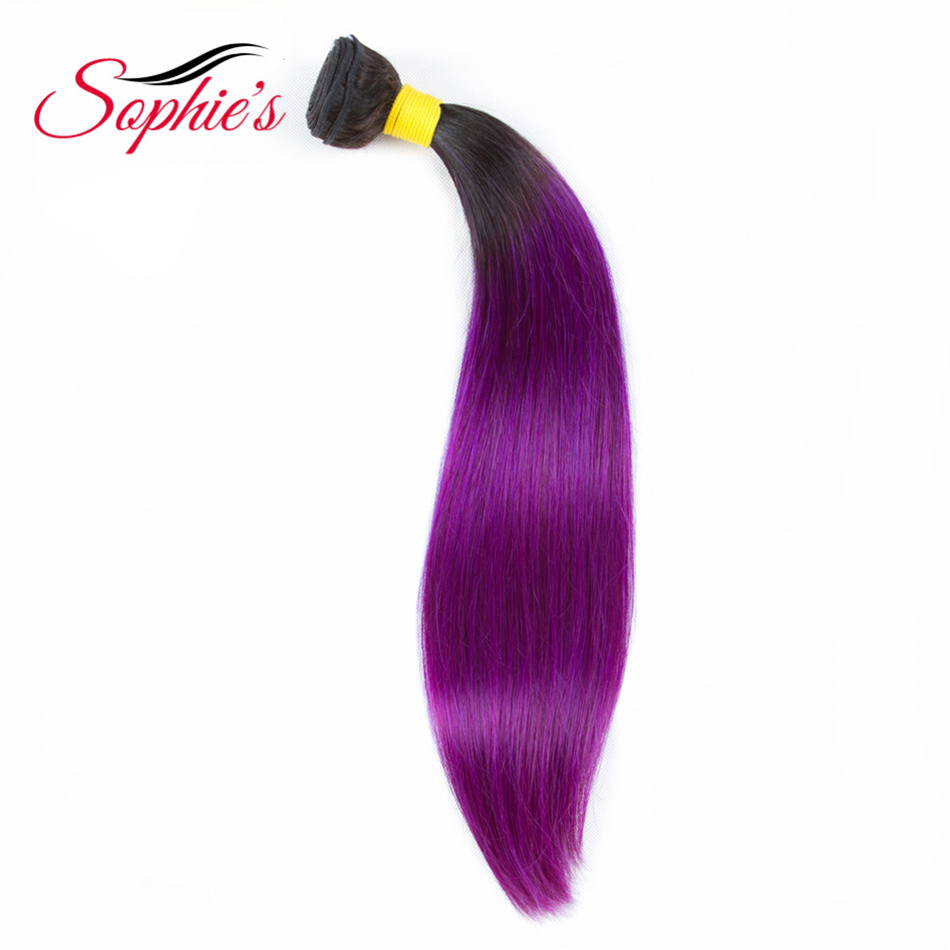 Sophie's Pre-colored Ombre Bundles T1B/Purple Color 1 Bundles Hair Peruvian Human Hair Non-Remy Straight Hair Hair Extensions
