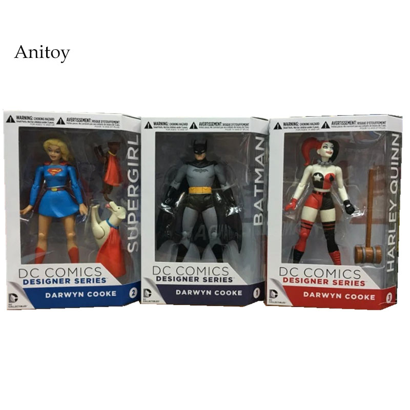 DC COMICS Designer Series Darwyn Cooke Batman Supergirl Harley Quinn PVC Action Figure Collection Model Toys 7  18cmDC COMICS Designer Series Darwyn Cooke Batman Supergirl Harley Quinn PVC Action Figure Collection Model Toys 7  18cm