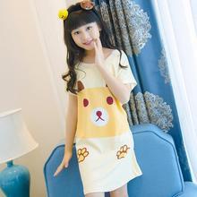 От 3 до 12 лет для девочек Домашняя одежда Летний стиль ночные рубашки для девочек платье Детская одежда для девочек, одежда для сна, платье принцессы для девочек ночную рубашку L32