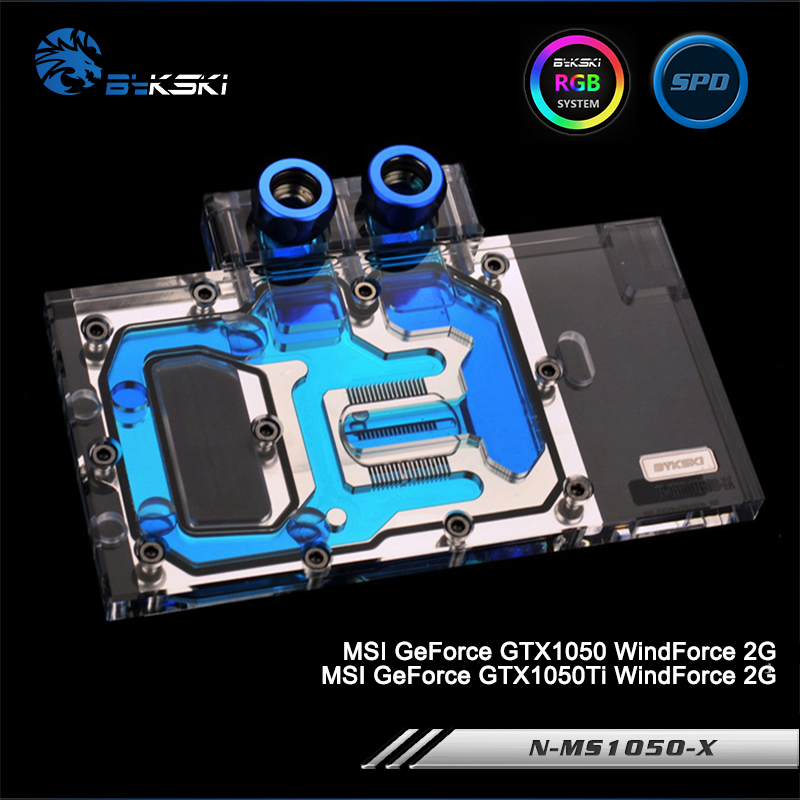 Bykski N-MS1050-X Full Cover Graphics Card Water Cooling Block RGB/RBW/ARUA for MSI GeForce GTX1050/1050Ti WindForce 2G bykski n ms1060dark x full cover graphics card water cooling block rgb rbw aura for msi geforce gtx1060 6g duke