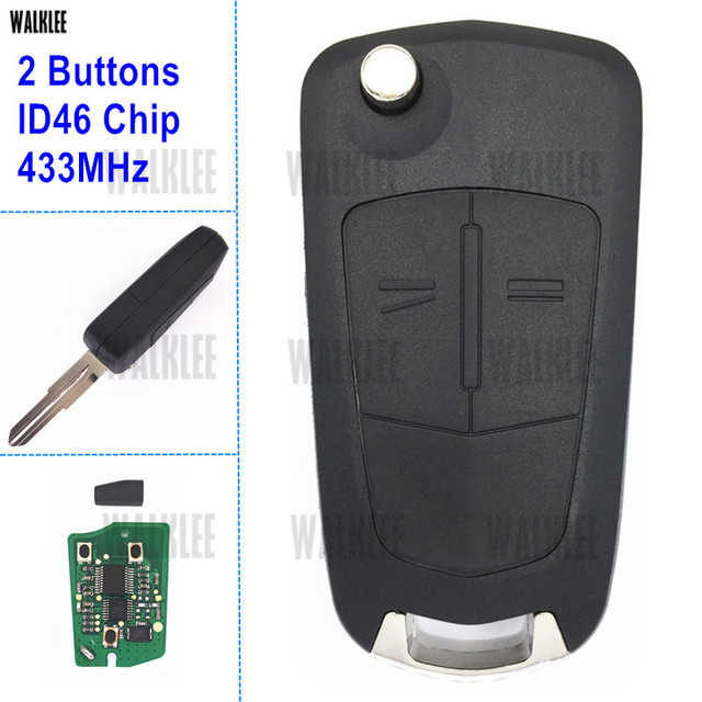 WALKLEE 2 Buttons Remote Key 433MHz fit for Opel/Vauxhall Antara 2011 - 2014
