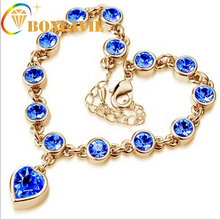 Hot Fashion Full Crystal Shining Jewelry Cubic Zircon Wholesale Sweet Peach Heart Gold Color Sliver Color
