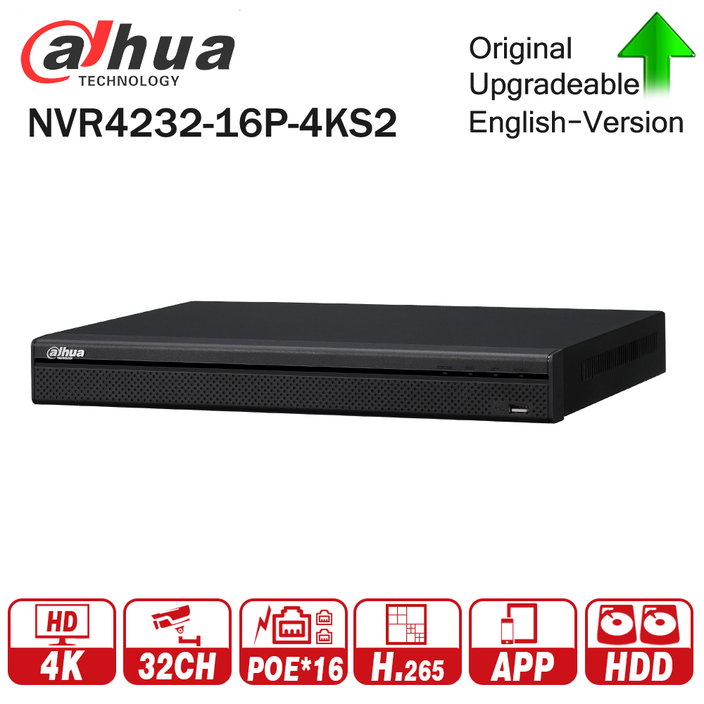 Dahua NVR4232-16P-4KS2 4K 32CH NVR With 16CH POE Video Recorder 2 SATA Interface Support H.265 for IP Camera System dahua network video recoder nvr4208 8p hds2 nvr4216 16p hds2 8 16ch nvr support onvif poe nvr recorder for poe camera