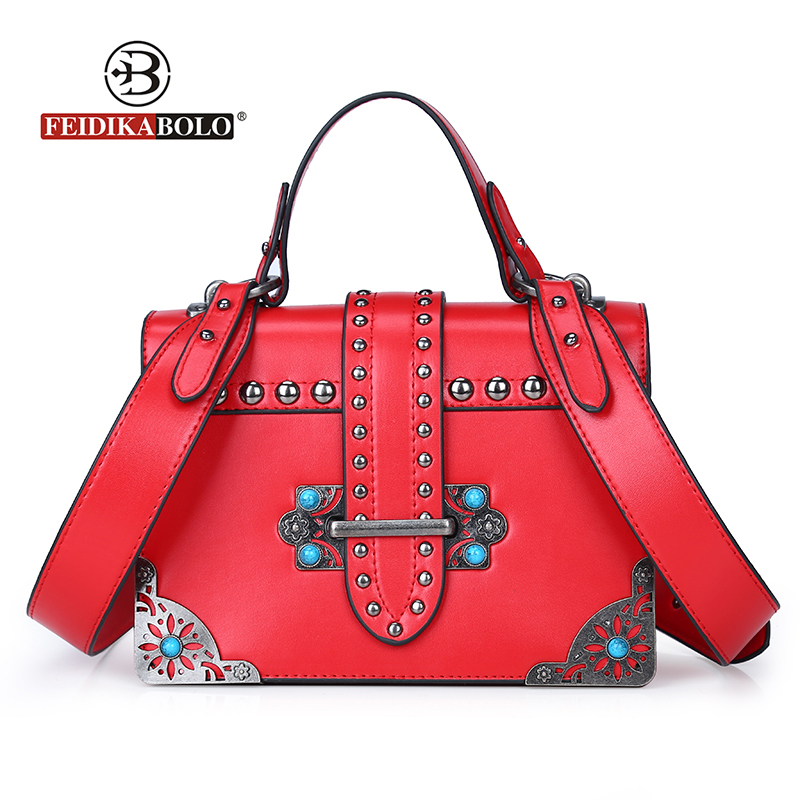 Fashion Mini PU Leather Women Crossbody Bags Rivet Vintage Shoulder Bag Designer Famous Brand Handbag Ladies Messenger Bags 2018 erangbear women bags fashion brand famous designer mini shoulder bag woman chain crossbody bag messenger handbag bolso purse