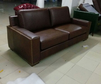 top graded cow real genuine leather sofa sectional living room sofa home furniture couch 3-seater American style oil wax leather