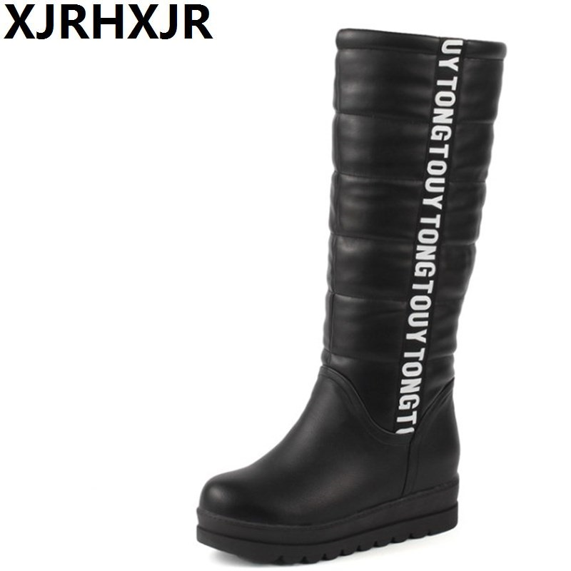 XJRHXJRWinter Women Shoes Knee High Boots Female Elevator Flat Thermal Velvet Snow Boots Platform Cotton-padded Shoes Size 34-43