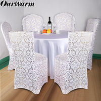 OurWarm 6/8pcs Big Size Stretch Elastic Chair Cover Wedding Banquet Kitchen Dining Spandex Seat Cover Removable European Style