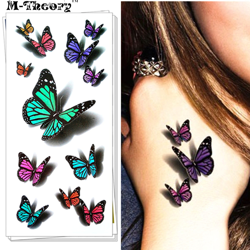 Fashion Tattoo Stickers, 3D Effect, Water Transfer Temporary Body Art Waterproof 3-5 Days, Sexy Butterfly