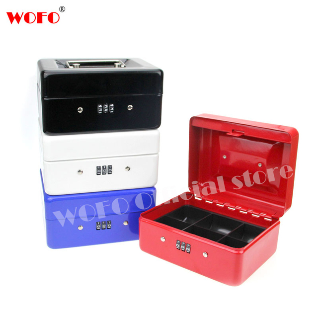 wofo stainless steel petty cash money box cashier lock box password