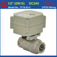 TF Brand New DC24V Stainless Steel Electric Valve 7 Control Wires 1 2 DN15 Motorized Ball