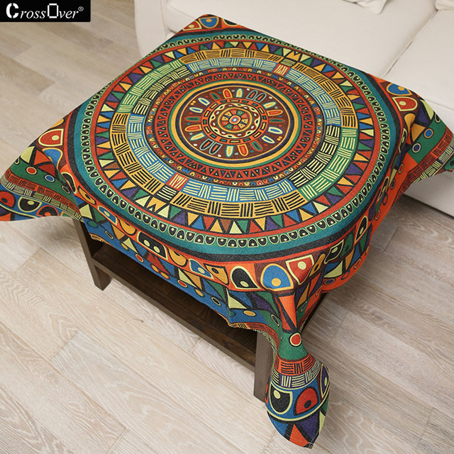 Bon Hot Sale Cotton Linen Blended Tablecloth Indian Compass Design Sofa Cover  Cloth Travel Picnic Mats Home