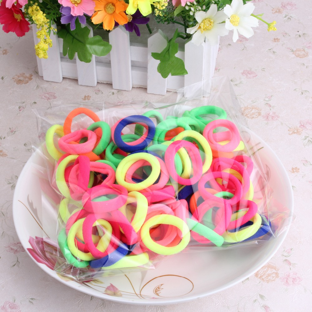 M MISM 90PCS Multicolor Elastic Hair Bands Gum Rubber Band for Kids Girls Small Hair Accessories Hair Ties Scrunchy
